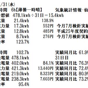 令和元年7月の月間発電実績と7月31日(水)の発電実績。