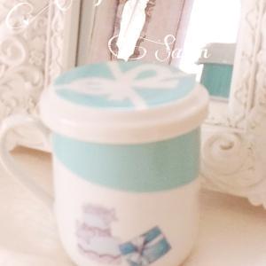 素敵なティファニー風マグカップ♡サロンティータイムは京都のお菓子で和を感じて
