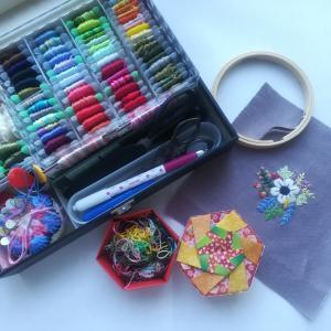 刺繍糸と六角箱