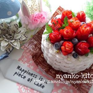 いちごの花かご風ショートケーキ♡