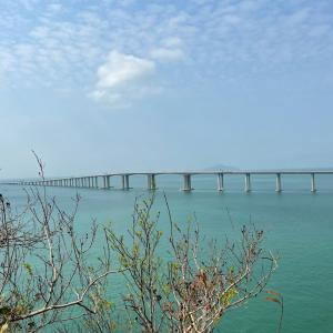 世界最長海上橋を横目にウォーキング