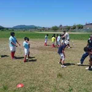 ラグビーの練習とぎふ清流里山公園