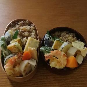 牛しぐれ煮の炊き込みごはんと天ぷら