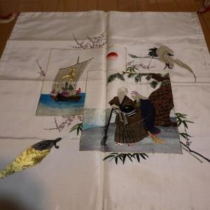 祖母の手刺繍結納飾り と 今日の「ののちゃん」(ウパ)