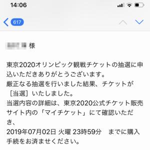 東京オリンピックチケットの当選結果