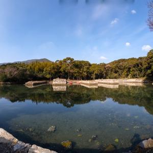 お船江跡 : 当時のドックが残る対馬藩の船溜まり跡。西漕手と万関橋にも。