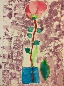 心の中が現れる?!赤い花の一輪挿しを描いたよ