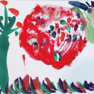 行楽弁当を描くお絵かき教室と娘の運動会