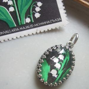 ◆オーダー品 切手ネックレス トップ(ブルガリア/すずらん切手)