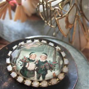◆オーダー品  切手ブローチ リヒテンシュタイン/クリスマス