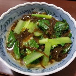 小松菜ともずく酢和え物