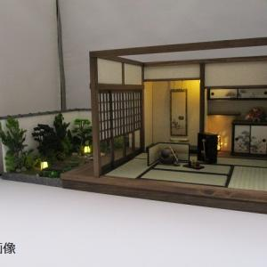手作りドールハウス◆和1/12 6畳 「秋の茶会 」、6畳用庭「池」