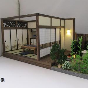 手作りドールハウス◆和1/12 6畳古民家 板塀の中庭