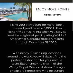 <ヒルトン> 対象のConradまたはWaldorf Astoriaに2泊以上のご宿泊で5,000ボーナスポイントがもらえます!