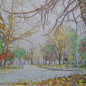 秋の公園ぬり絵、もう少し