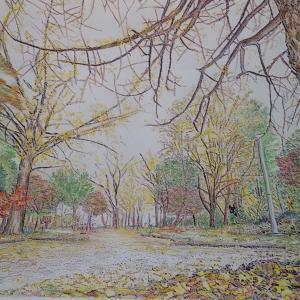 秋の公園ぬり絵、あと少し