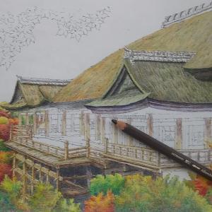 京都清水寺ぬりえ、あぁ…疲れる