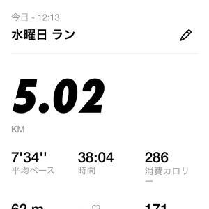 昼休みランニング5km。風強い
