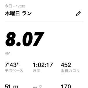 気付けば1週間ぶりのランニング。8km