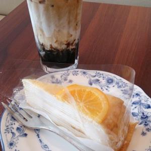 ドトールのゼリーイン豆乳ラテ&キャラメルオレンジミルクレープ