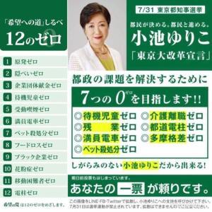 【東京都知事選】小池都知事、ツイッター上で7つのゼロ実績に対し回答