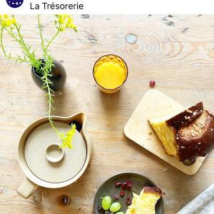 パリの朝のテーブル風景 ラ・トレゾルリのエルザさんのアレンジで