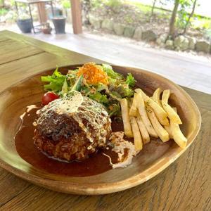 滋賀の自然に囲まれた素敵なレストラン 木のした料理店さんで食べるハンバーグ。