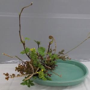 昨日と同じ花材で写景盛花自然本位