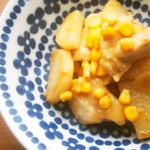 【231円主菜☆】むね肉・長芋・コーンのオイスターソース炒め♪
