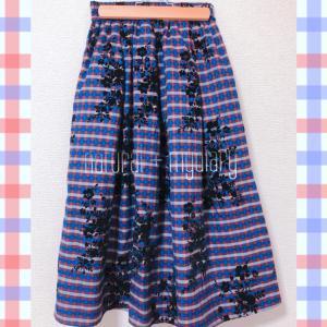しまむら レトロチェック フラワー柄 スカート