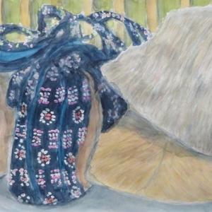 楽描き水彩画「木綿織グッズ売り場のおばさん帽子とバッグ」