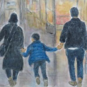 楽描き水彩画「セントレアの親子」