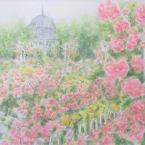 楽描き水彩画「鶴舞公園のバラです」
