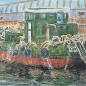 楽描き水彩画「瀬戸内の島々の命と暮らし支えるエネルギー配達船?尾道港」