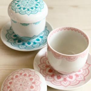 曼荼羅模様の蓋付き碗