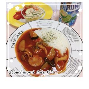 完熟トマトのハヤシライス☆ズッキーニとツナのマヨネーズあえ