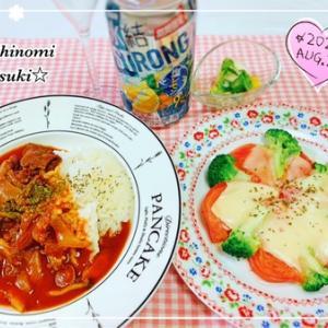簡単☆レンジでトマトのチーズ焼きとハヤシライス