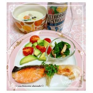 野菜のクリームスープ*簡単☆鮭のオリーブオイル焼き