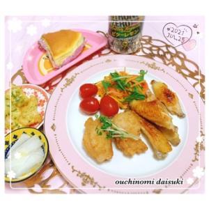 初 冷食唐揚げと定番簡単*フライパンで鶏スペアリブを焼いただけ
