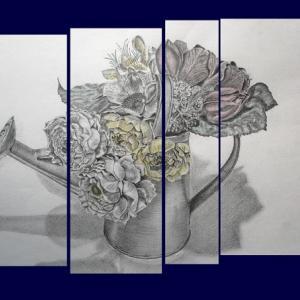 鉛筆画で花を描く