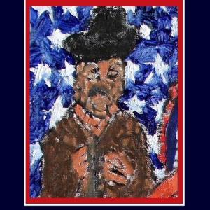 星条旗をバックにしたアメリカンヒーロー