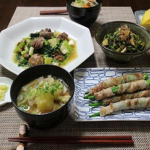 砂肝の小松菜炒めとオクラの肉巻き