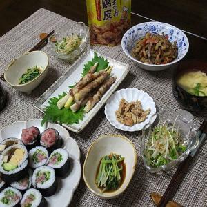 買って来たお寿司とおつまみの副菜