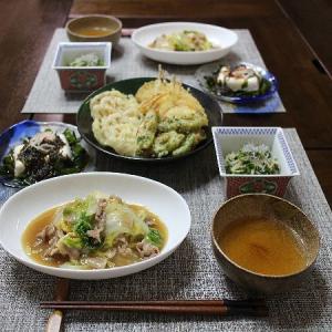 3種の天ぷらと白菜と豚肉のあんかけ風炒め