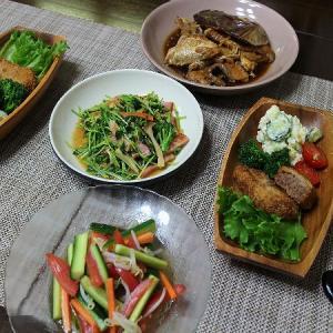 豆苗の炒め物や鯛のアラ煮やミンチかつや・・・盛りだくさんの食卓