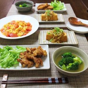 カレー風味のスープブロッコリーや唐揚げetc.