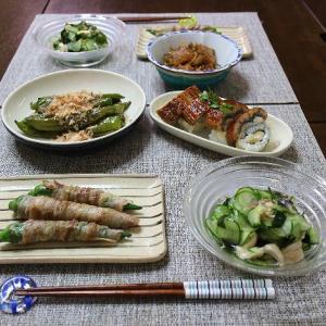 ウナギの押し寿司やオクラの豚バラ肉巻き