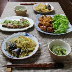 鶏肉の野菜巻きと白菜とサバ缶のさっと煮
