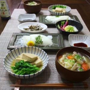 大好きなイカのお刺身や高野豆腐の含め煮