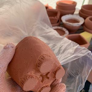 軒下陶芸とアイス